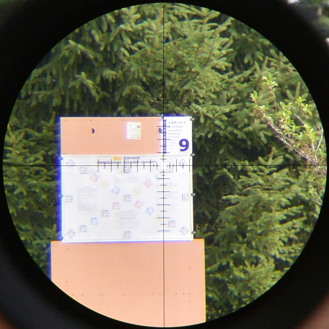 Optical Test Target for color rendition, resolution, and, to some extent, chromatic aberration viewed though a test scope