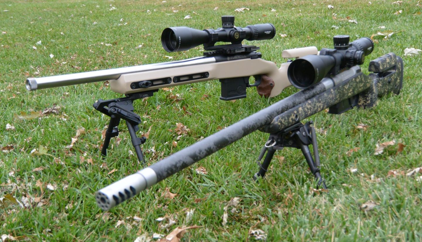 Athlon Ares BTR 4.5-27x50mm on Mesa Precison Arms Crux rifle (front) with Midas TAC 6-24x50mm on Kelbly Atlas tactical (rear)