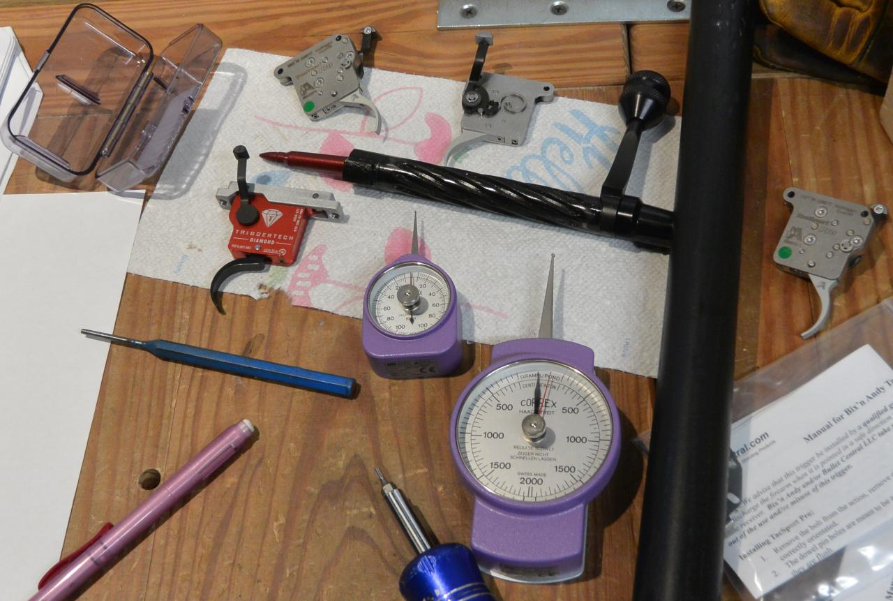 Trigger testing gauges supplies and triggers laid out