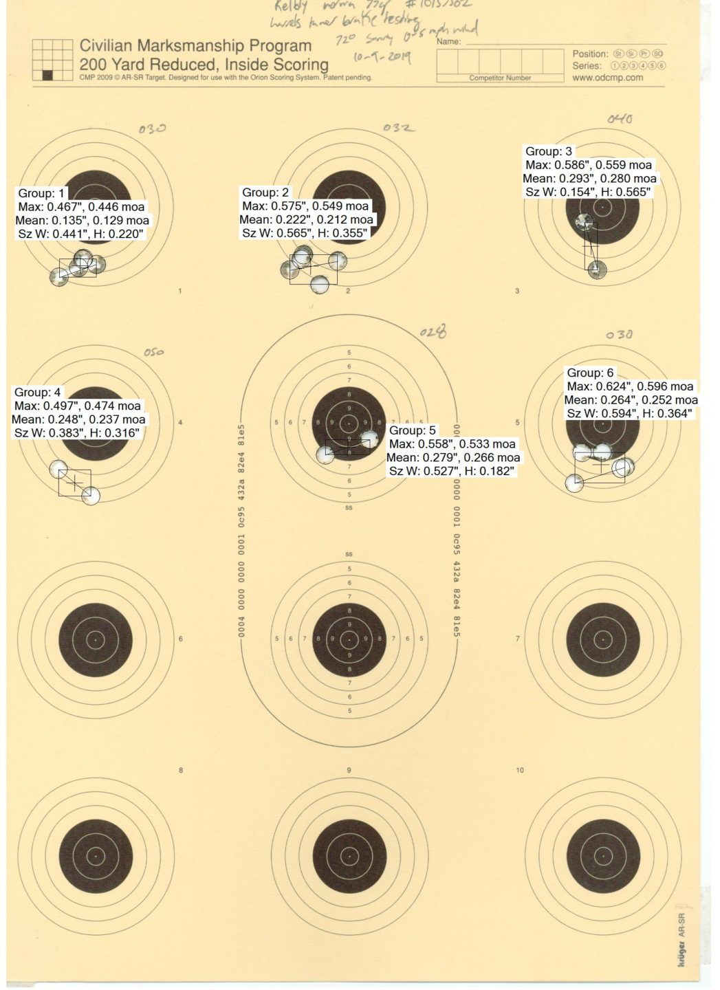 Second Barrel tuning test target fired from the Kelbly Atlas Tactical .223 Rem rifle with Norma USA 77gr SMK ammo and the Harrell's tuner brake. Hand written numbers correspond to tuner settings.