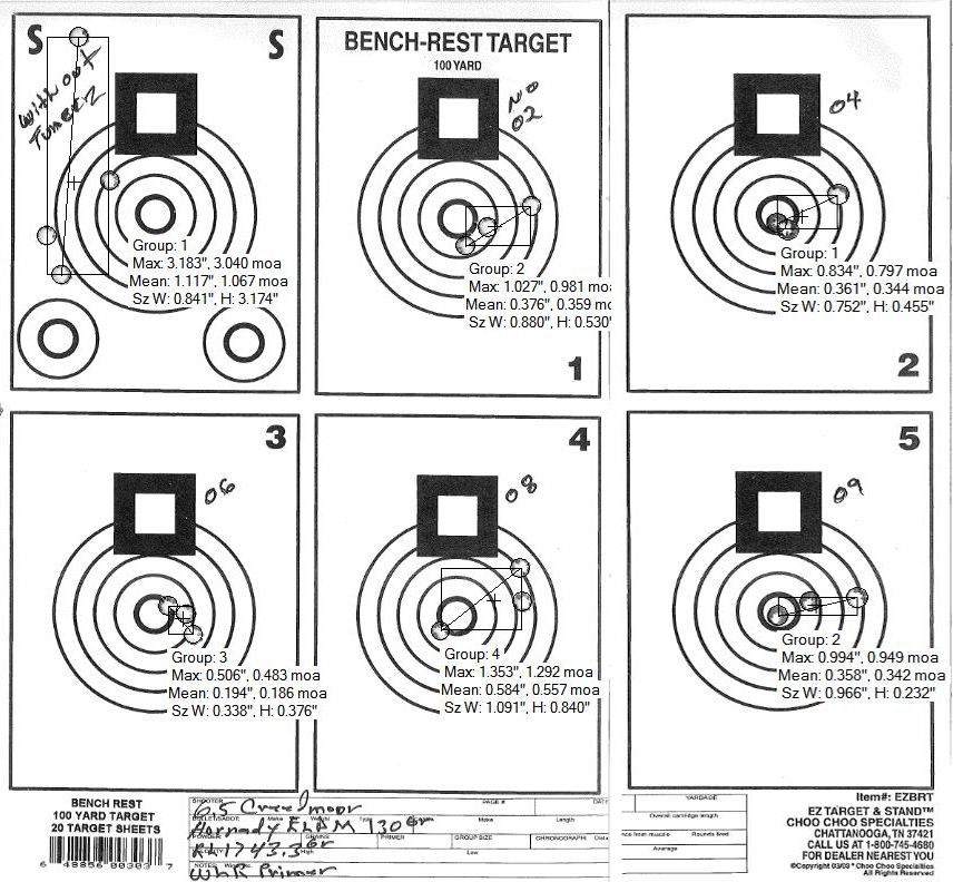 Darrell's test target with hand loads of 130gr Hornady ELDM's in 6.5cm