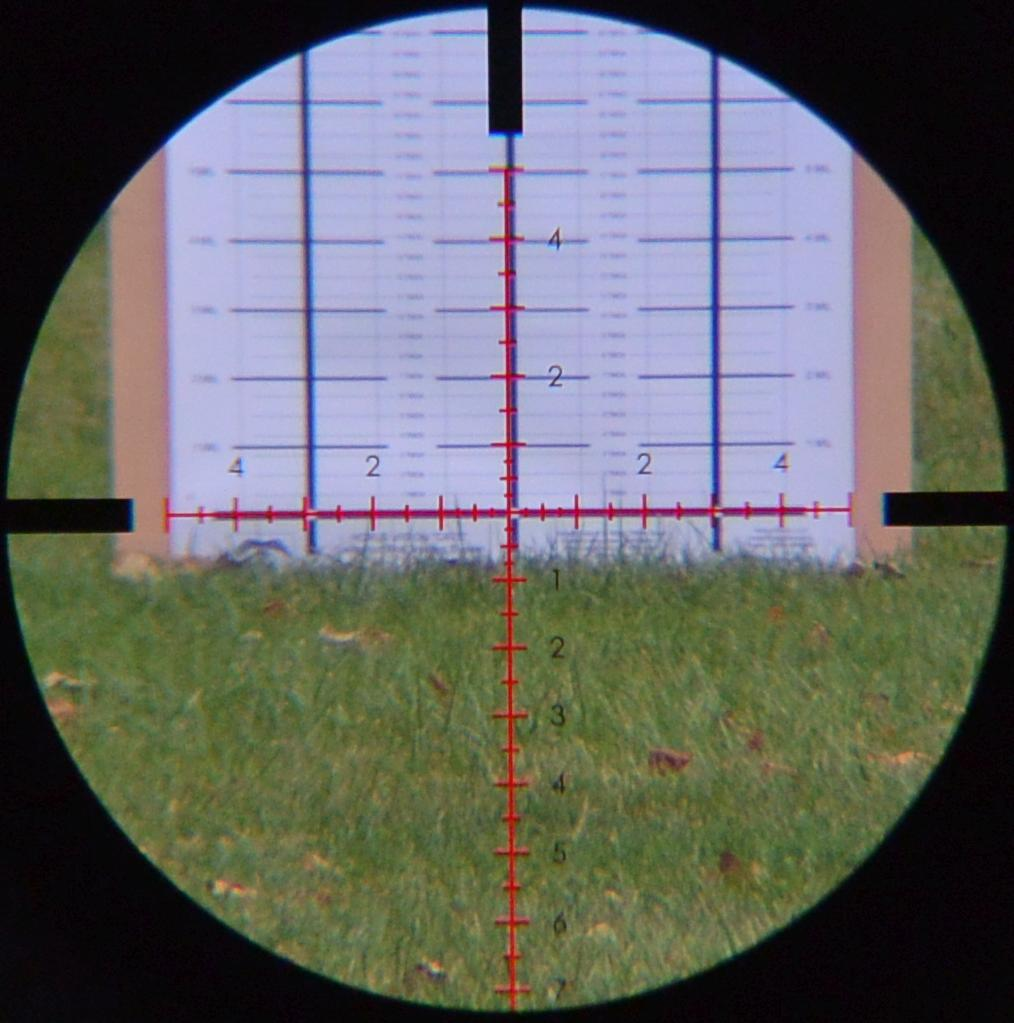 Sightron S-TAC 4-20X50FFPZSIRMH's Mil-Hash reticle on the HORUS CATS target at 20x