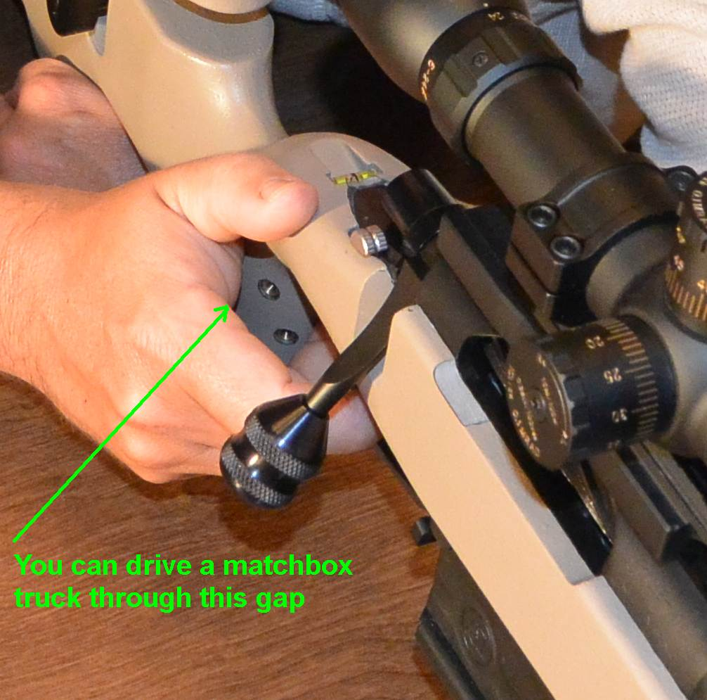 Often positioning for proper trigger finger geometry would leave the rest of your hand in little contact with the stock.