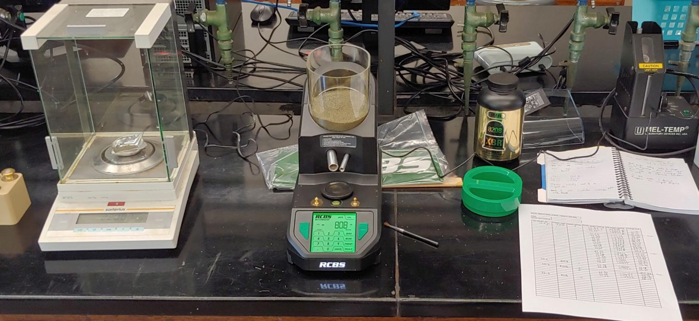Testing the RCBS MatchMaster powder measure against a Sartorius BP121S analytical balance at the lab
