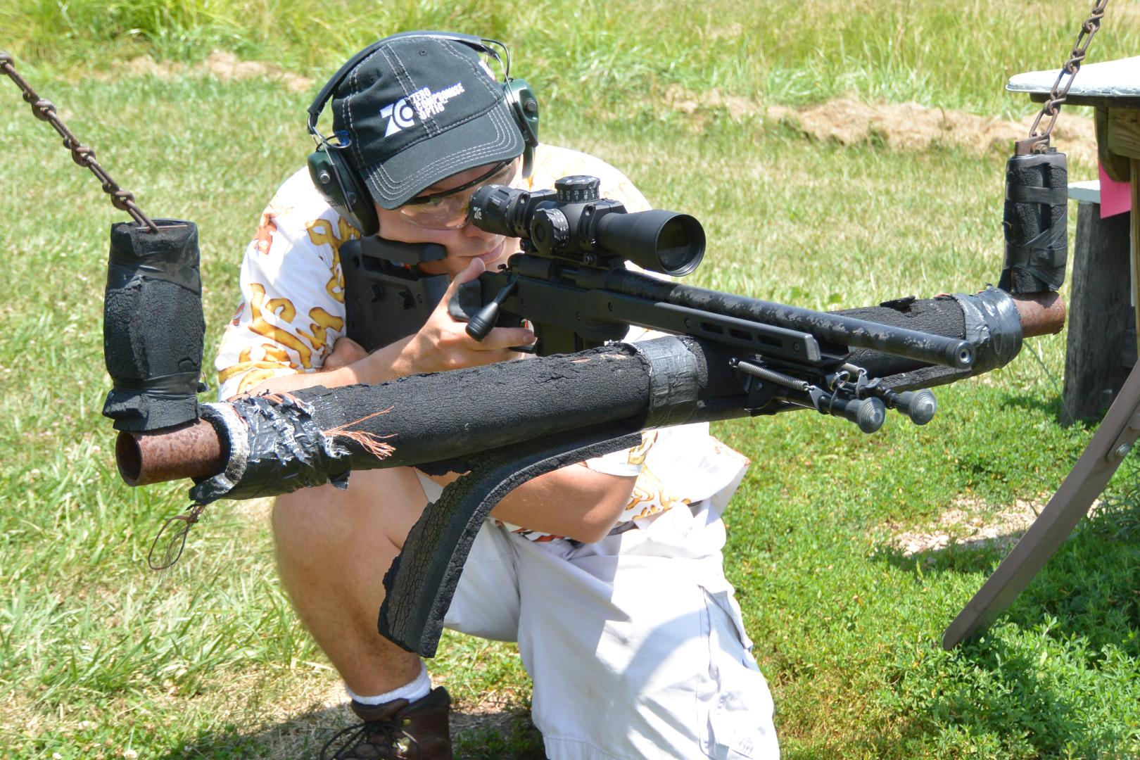 Shooting the Proof Carbon Fiber Barrel Vudoo V-22 in MDT XRS Chassis with ZC 420 Scope and TT Two-Stage Trigger off one of those Ridiculous PRS Swings