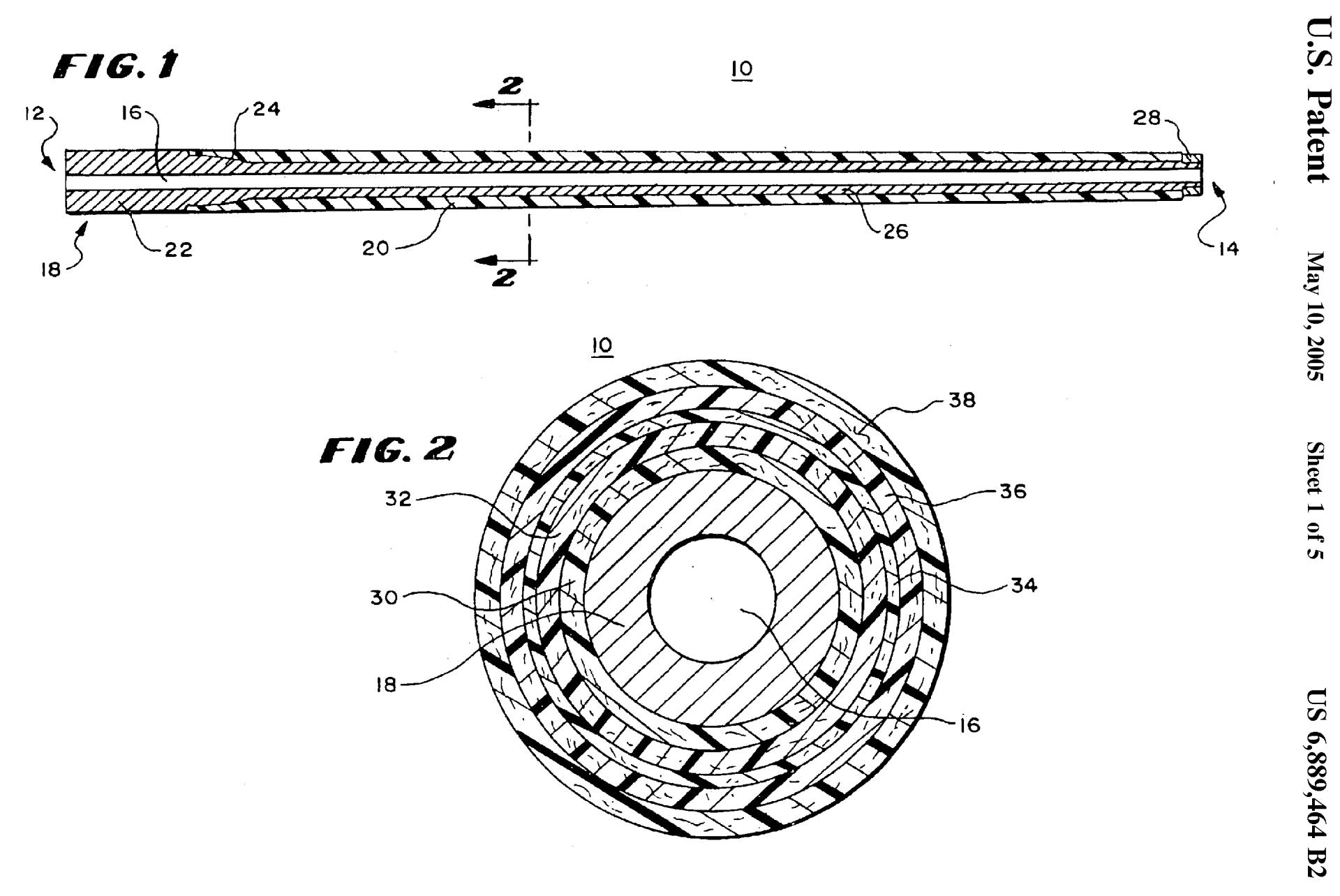 Proof Carbon Barrel Patent 6889464 Figures Showing How the Carbon Wrapping is Layered Around the Steel Core