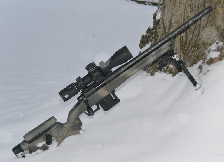 Vudoo V-22 with Proof Carbon Barrel, Atlas CAL Bipod, and Zero Compromise ZC420 in a Grayboe Phoenix stock looking pretty in the snow