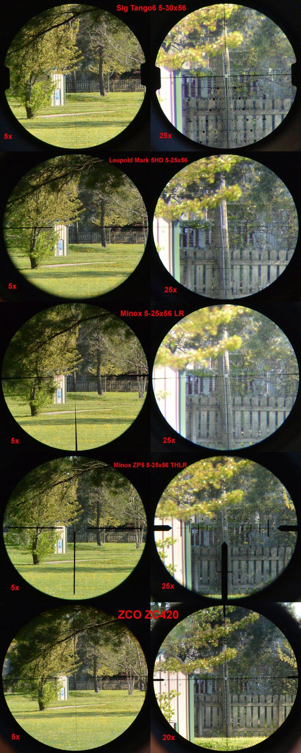Field of view compilation image with: Sig Tango6 5-30x56, Leupold Mark 5HD 5-25x56, Minox 5-25x56 LR, Minox ZP5 5-25x56 THLR, and ZCO ZC420