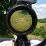 Observing a plate rack at ~650 yards though the Leupold Mark 5HD 5-25x56 rifle scope with PR2-MIL reticle