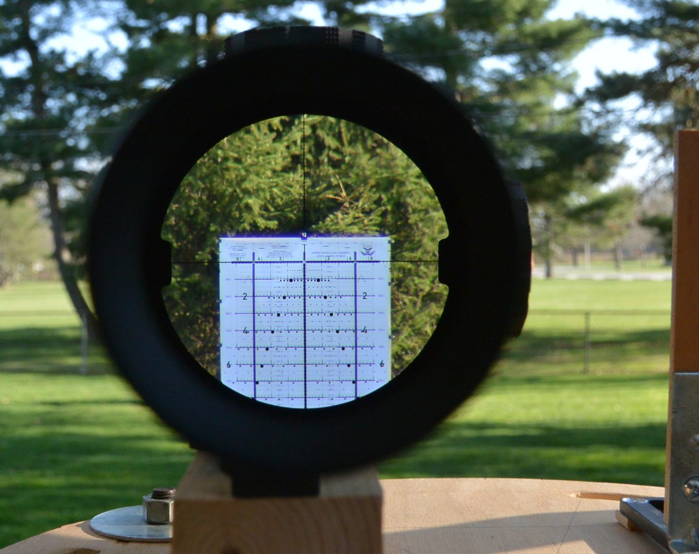 Sig Tango6 5-30x56 strapped in for mechanical testing  using the Horus CATS tall target