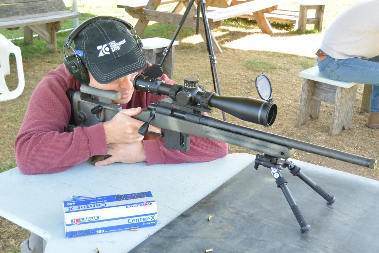 Doing some long range .22lr shooting with the Vudoo V-22, in a Grayboe Phoenix stock