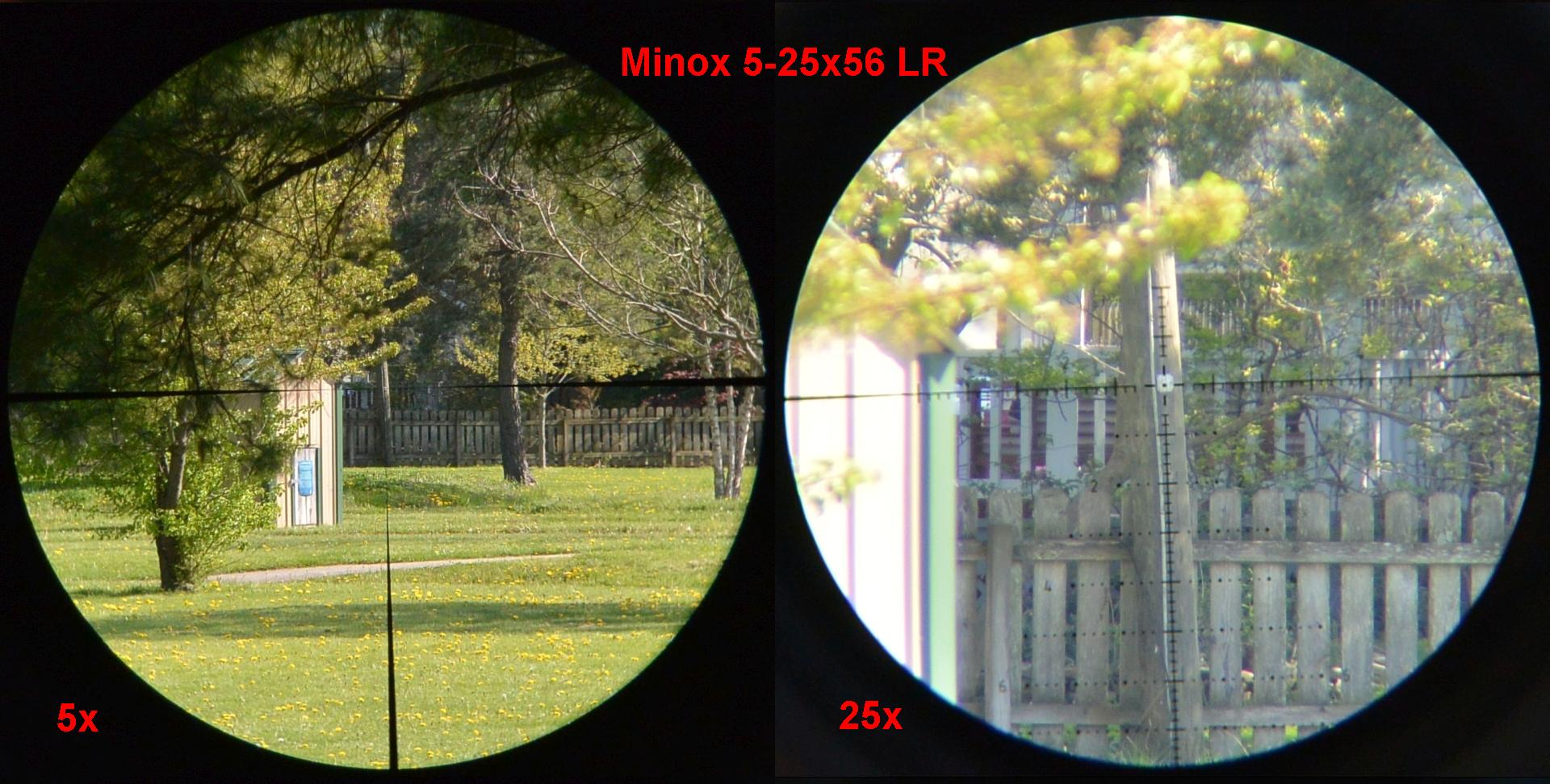 LR reticle in the Minox 5-25x56 LR  on low and high powers