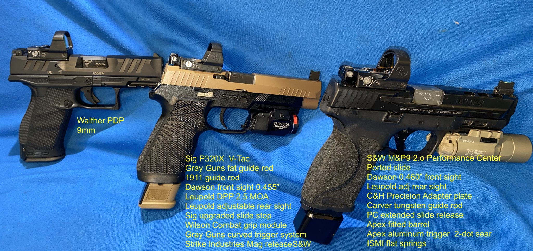 IMG_8638Walther PDP Sig P320 M&P9 2.0 PC with Leupold Delta Point Pro 2.5 MOA and Holsters 03....jpg